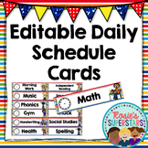 Editable Daily Schedule Cards: Rainbow Theme