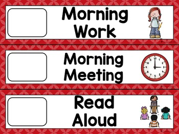 Editable Daily Schedule Cards (Red)
