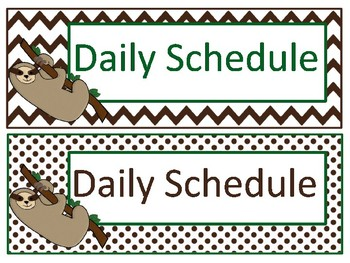 Editable Daily Schedule Cards - Sloth Themed
