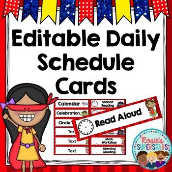 Editable Daily Schedule Cards Superhero Theme
