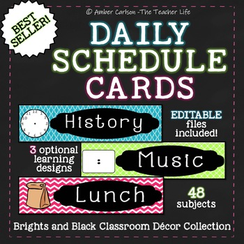 Editable Daily Schedule Cards in 3 Styles- 48 Titles!