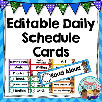 Editable Daily Schedule Cards in Chevron