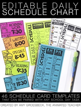 Editable Daily Schedule Chart