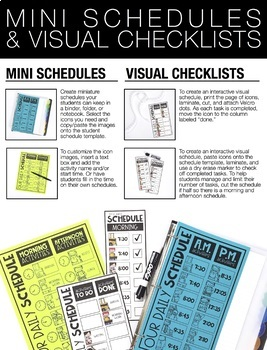 EDITABLE Daily Schedule Chart with Mini Visual Schedules and Checklists