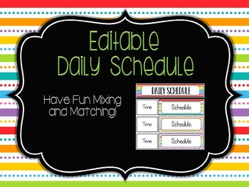 Editable Daily Schedule: Rainbow Pop