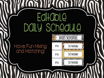Editable Daily Schedule: Rumble in the Jungle