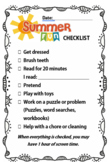 Editable Daily Summer Fun Checklist