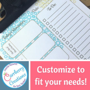 Editable Lesson Planner Daily Checklist : Lace Print