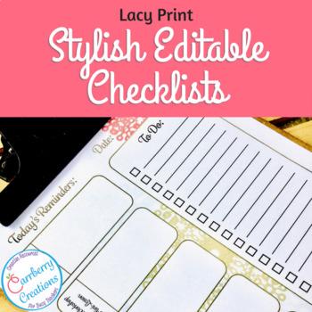 Editable Daily Teacher Checklist