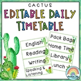 Editable Daily Timetable / Class Schedule { Cactus theme }