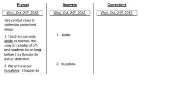 Editable Daily Warm-Up-Context Clues, Base Words, Prefixes