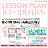 Editable Daily and Weekly Lesson Planning Templates Bundle
