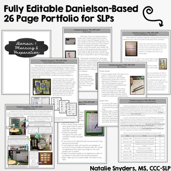 Editable Danielson Portfolio Binder for SLPs