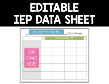 Editable Data Sheet - PERFECT for IEP data, progress monit