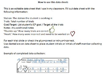 Editable Data collection Sheet
