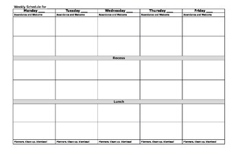 Day Plan Template Worksheets Teaching Resources Tpt