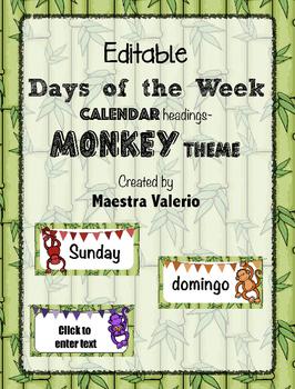 Editable Days of the week Calendar Headings  Monkey theme