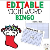 Editable December Christmas Sight Word Bingo