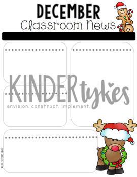 Editable December Classroom Newsletter
