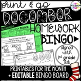 Editable December Homework Bingo Board + Printable Activities!