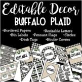 Editable Decor Label Set: BUFFALO PLAID