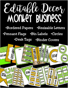 Editable Classroom Decor and Label Set: Monkey Business