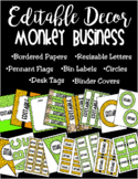 Editable Classroom Decor and Label Set: Monkey Business