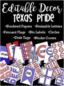 Editable Decor Label Set: TEXAS PRIDE