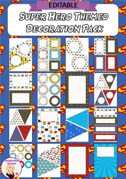 Editable Decoration Pack - Super Hero themed