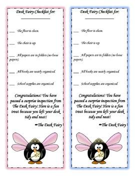 Editable Desk Fairy Checklist