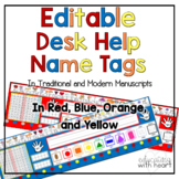 Editable Desk Help Nameplates in Red, Blue, Orange and Yellow