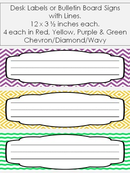Desk Labels & Bulletin Board Signs with Lines {editable}