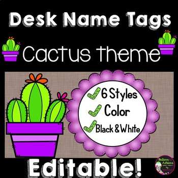 Editable Desk Name Plates (Cactus themed)