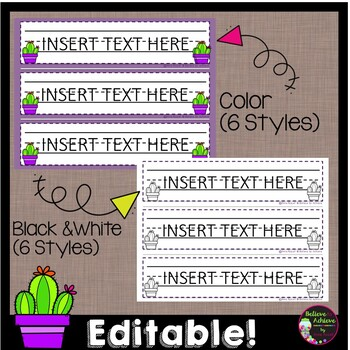 Editable Desk Name Plates (Cactus themed)