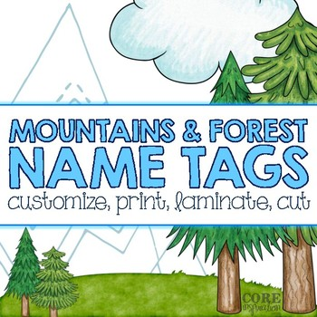 Editable Desk Name Plates/Name Tags - Mountain & Forest