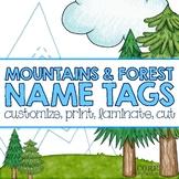 Editable Desk Name Plates/Name Tags - Mountain & Forest
