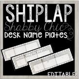 Editable Desk Name Plates / Name Tags - Shiplap Shabby Chic Design