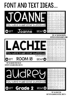 Editable Desk Name Tags | Bright and Bold