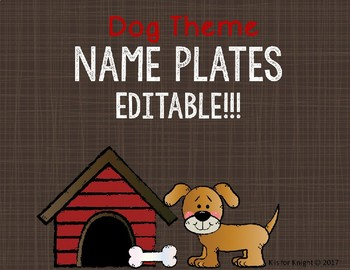 Editable Desk Name Tags - Dog Theme