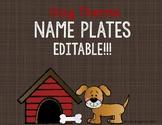 Editable Desk Name Tags - Dog Theme