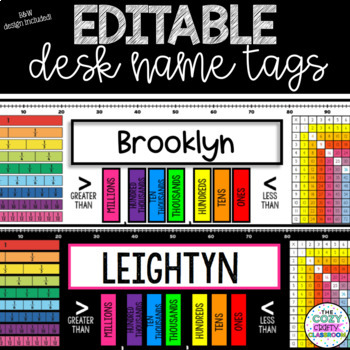 Editable Desk Name Tags-Math/Upper Elementary