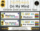 Editable Desk Name Tags - Rustic Sunflower theme - primary and intermediate