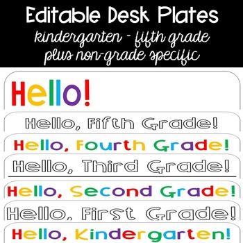 Editable Desk Plates {bright rainbow plus black and white}