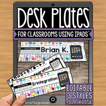 Editable Desk Plates for iPad Classrooms