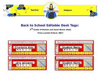 Back To School Editable Desk Tags: 3rd Grade (Red)