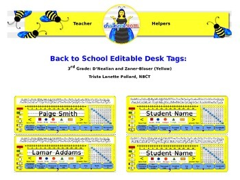 Back to School Editable Desk Tags: 3rd Grade (Yellow)