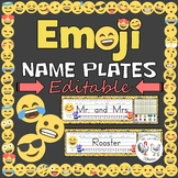 Editable Desk Tags / Name Plates - Emoji Theme Decor
