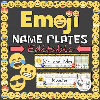 Editable Desk Tags / Name Plates - Emoji Theme Decor
