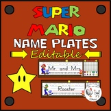 Editable Desk Tags / Name Plates / Desk Plates - Mario Theme Decor