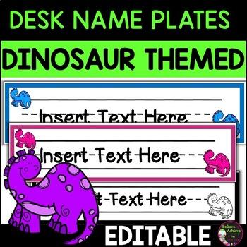 Editable Desk Tags/Name Plates (Dinosaur themed)
